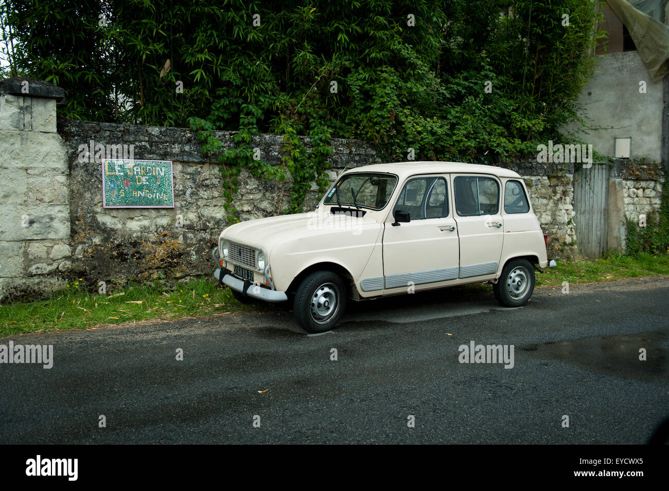 classic renault 4 car parked in chinon loire valley france stock photo royalty free image. Black Bedroom Furniture Sets. Home Design Ideas
