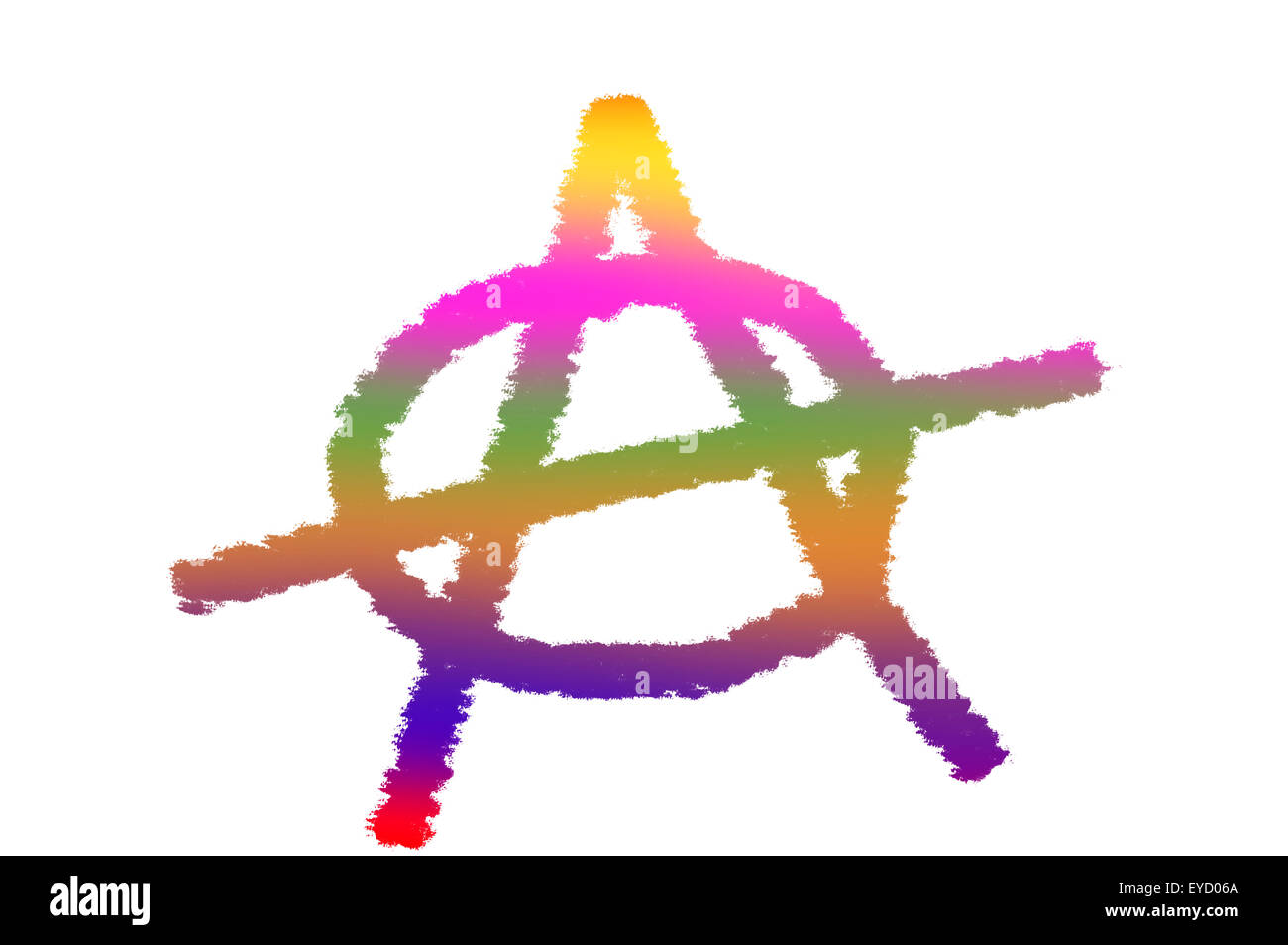 Multicolored anarchy symbol on white background stock photo multicolored anarchy symbol on white background buycottarizona