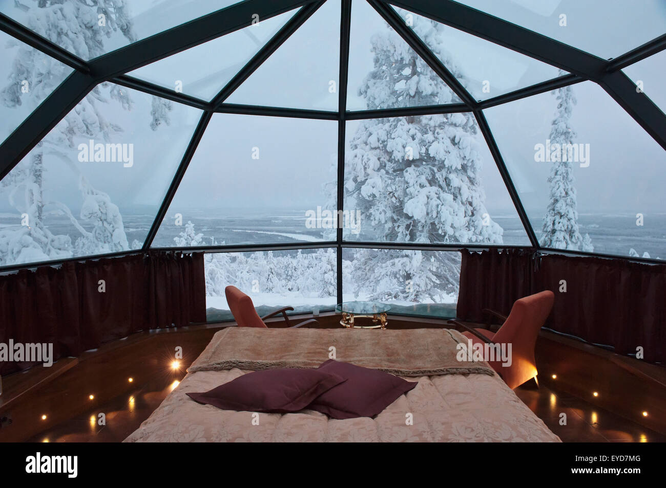 Glass Roofed Igloo Accommodation With A Motorized Rotating Bed At - Rotating bed