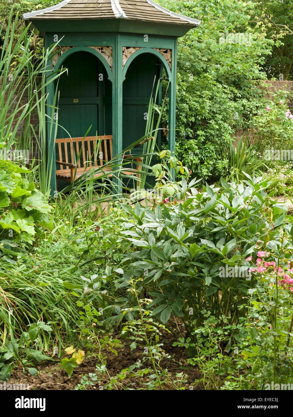 Ornate Arched Wooden Garden Gazebo Arbor Amongst