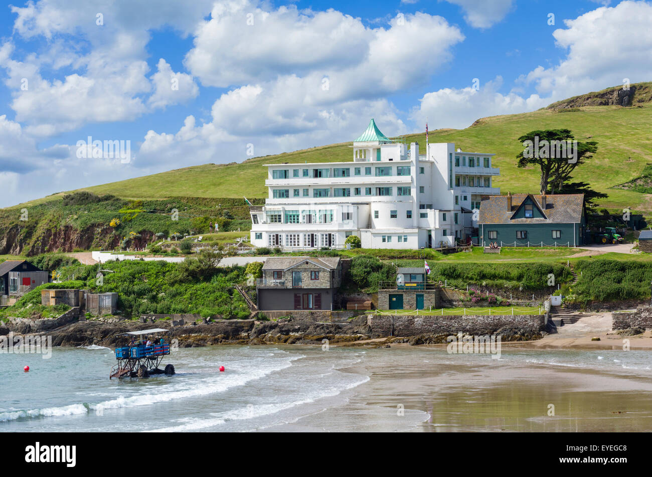 Burgh Island Hotel With Sea Tractor Used To Cross At High