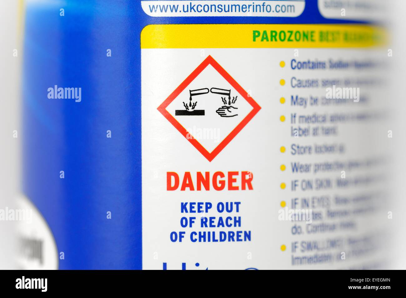 Bleach bottle warning stock photos bleach bottle warning stock caustic warning symbol on a bottle of bleach stock image biocorpaavc