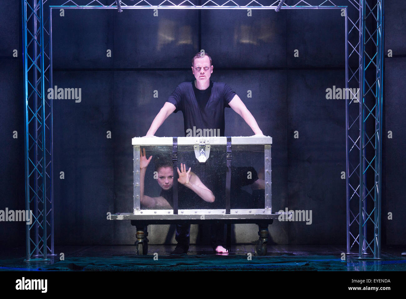 Water Tank Magic : London uk july pictured escapology stunt with