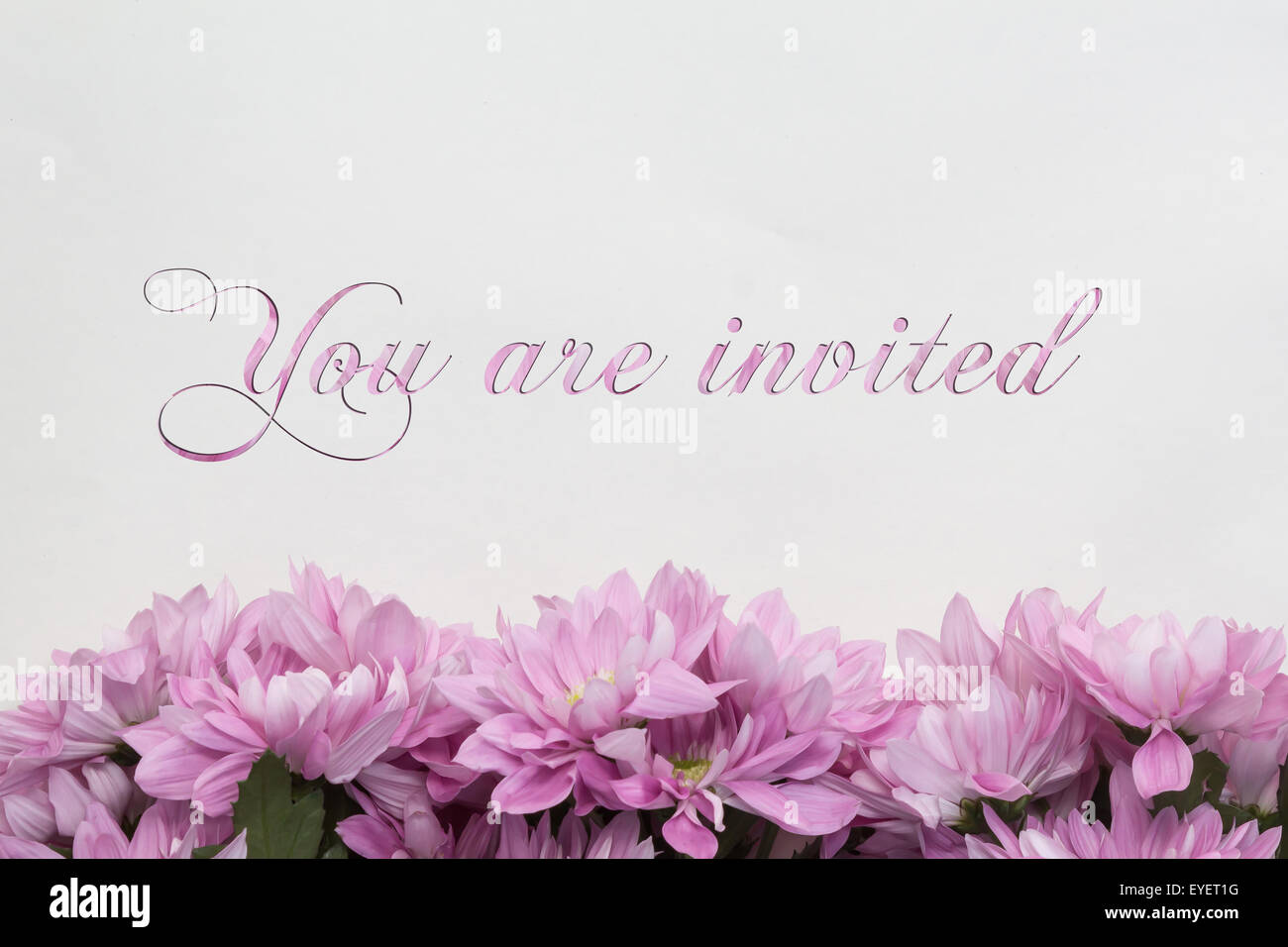 gold lettering design for card you are invited illustration
