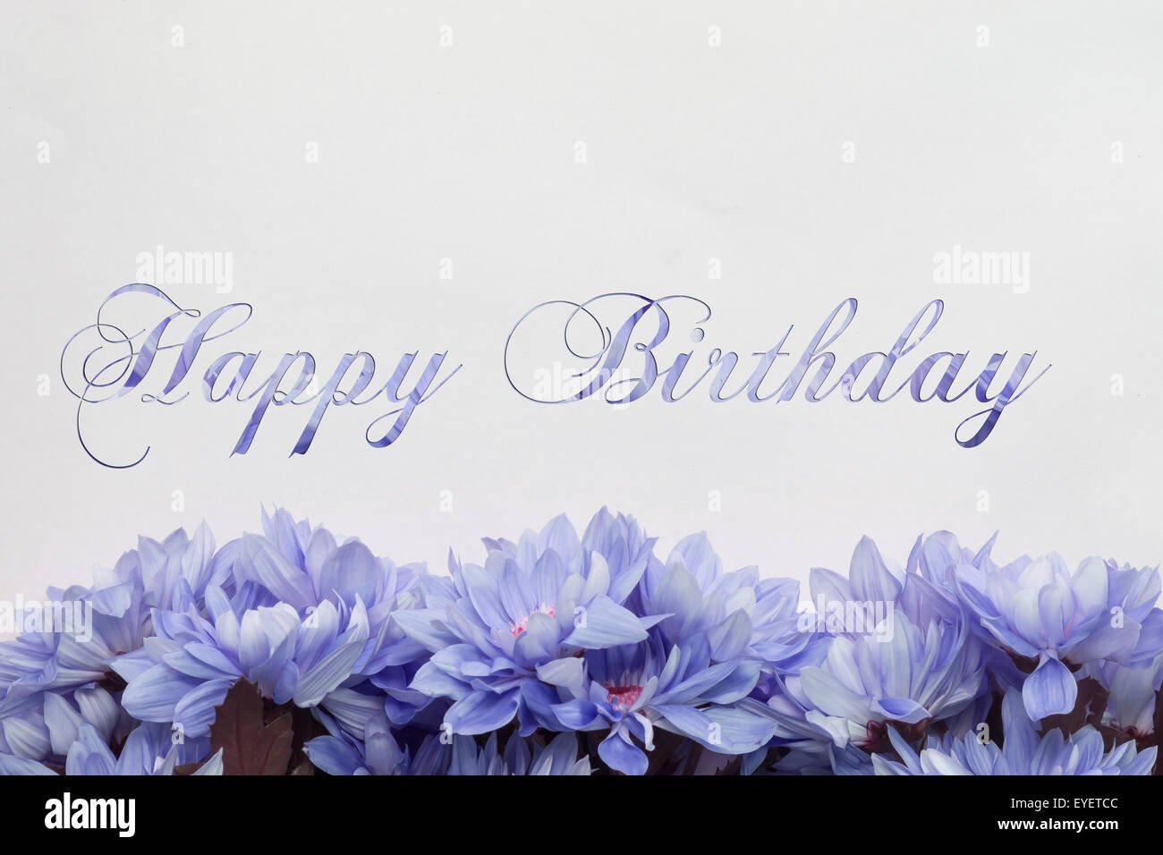 happy birthday greeting card  flowers and text stock photo, Birthday card