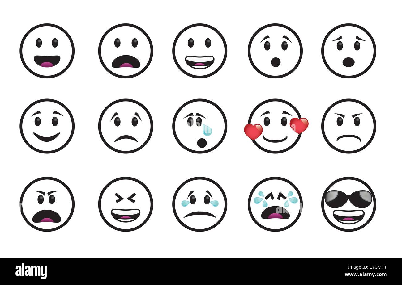 Set of icons in different emotions and moods
