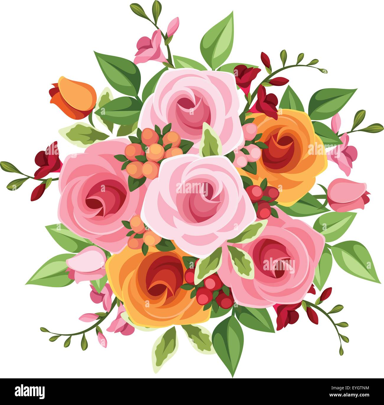 Bouquet of roses and freesia flowers vector illustration stock bouquet of roses and freesia flowers vector illustration izmirmasajfo Gallery