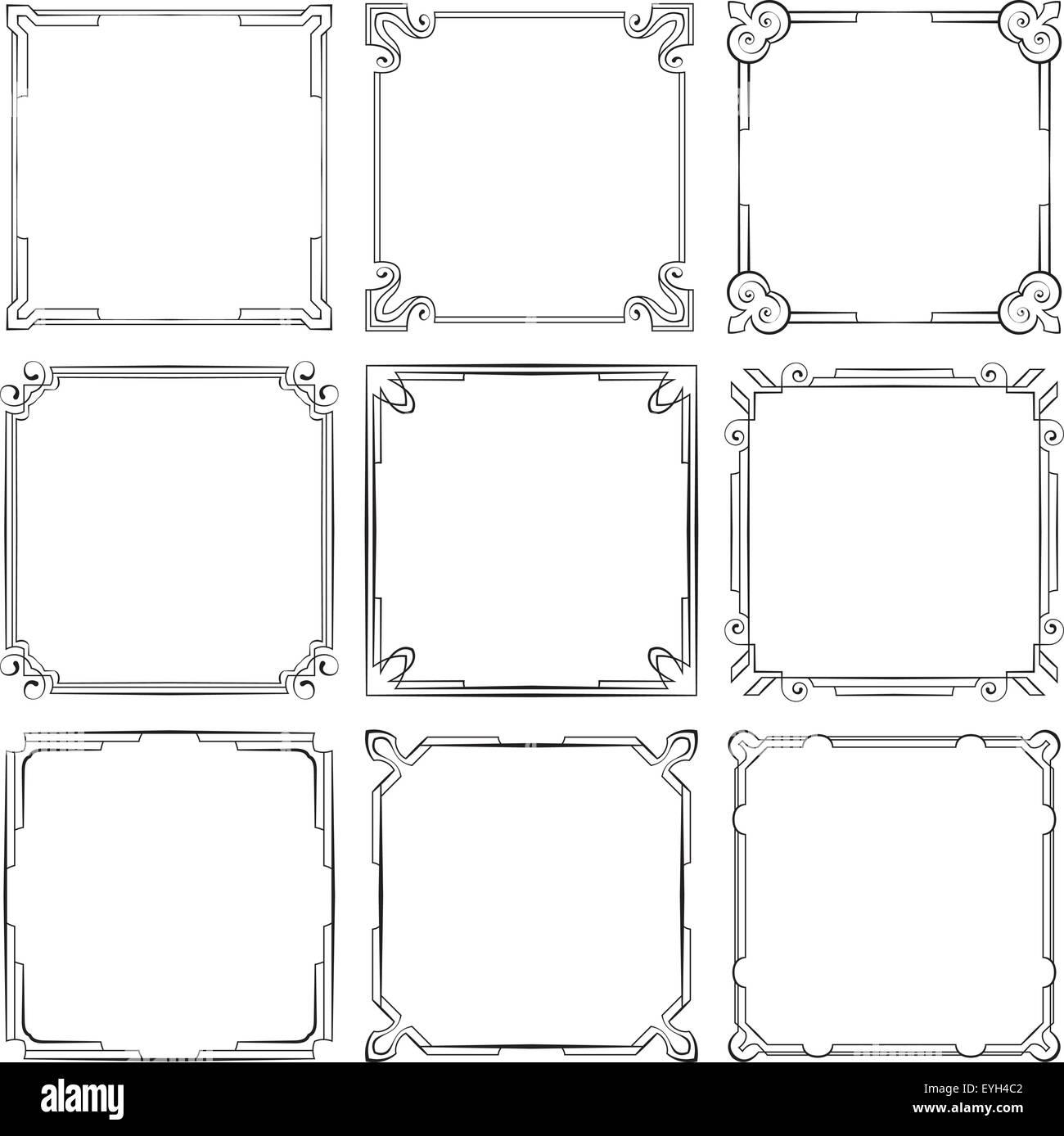 vector set of nine square elegant frames - Elegant Frames