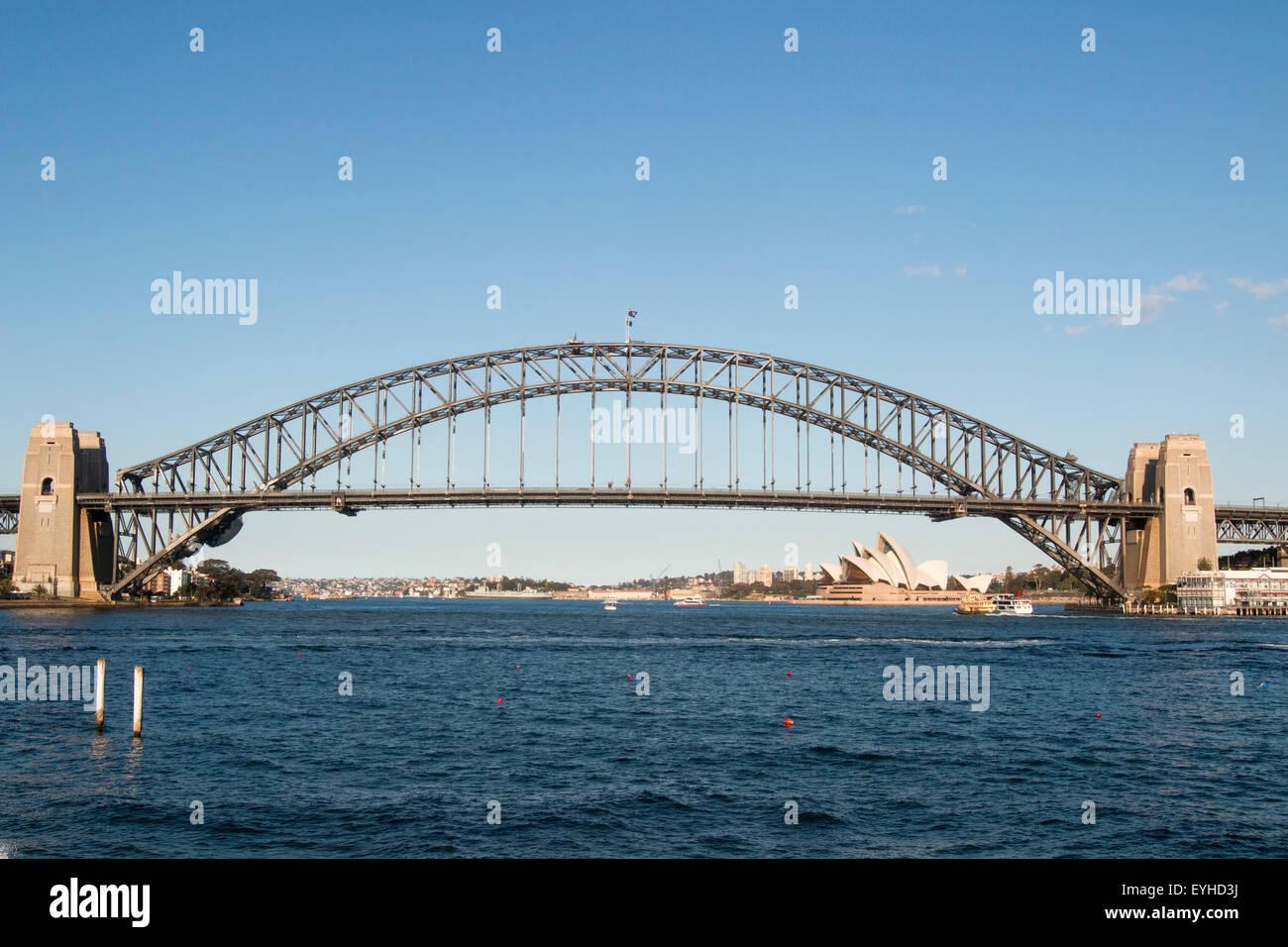 Sydney opera house and harbour bridge - Stock Photo Sydney Harbour Bridge And Sydney Opera House Viewed From Mcmahons Point Wharf Sydney Australia