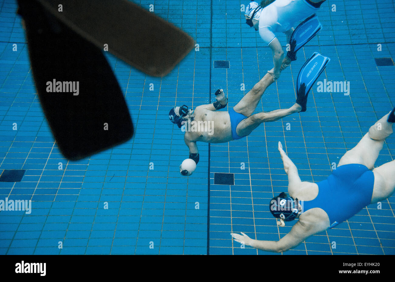 29th july 2015 swimmers play underwater rugby in the public swimming pool at the olympic stadium in berlin germany 29 july 2015