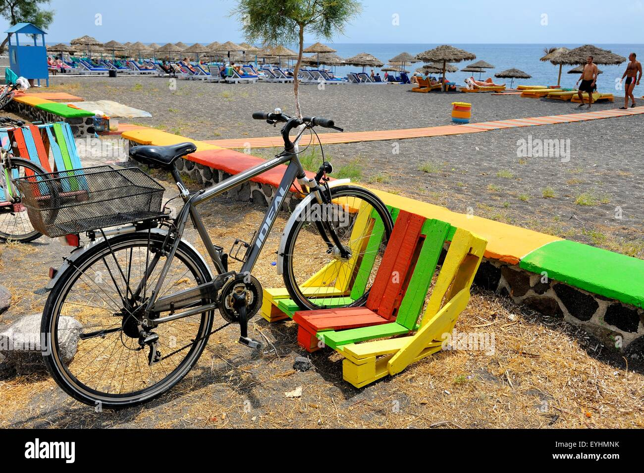 A Colorful Bike Rack Made Out Of A Wooden Pallet On Perissa Beach