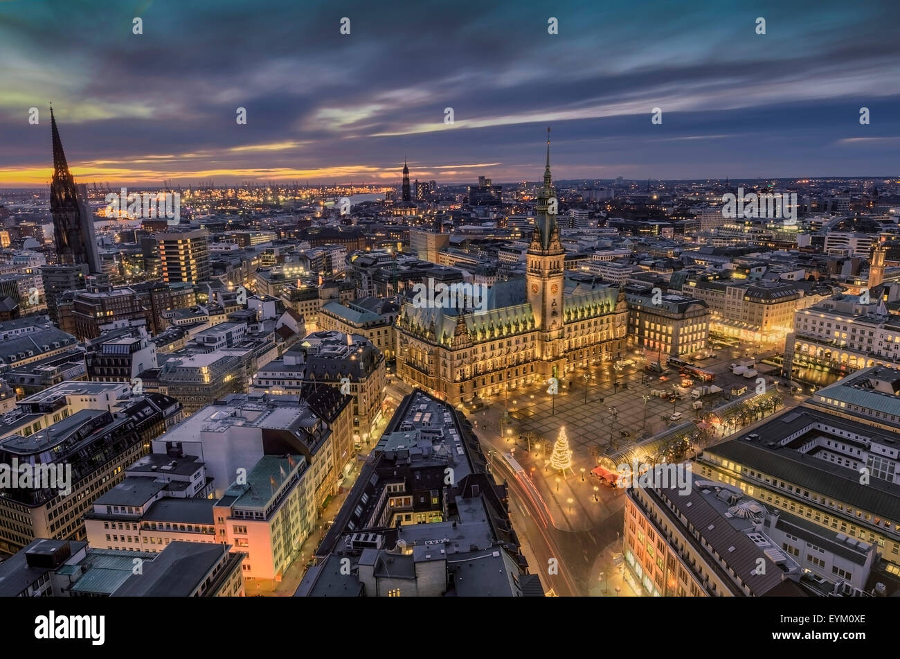 germany hamburg neustadt rathausmarkt city hall night night stock photo royalty free. Black Bedroom Furniture Sets. Home Design Ideas