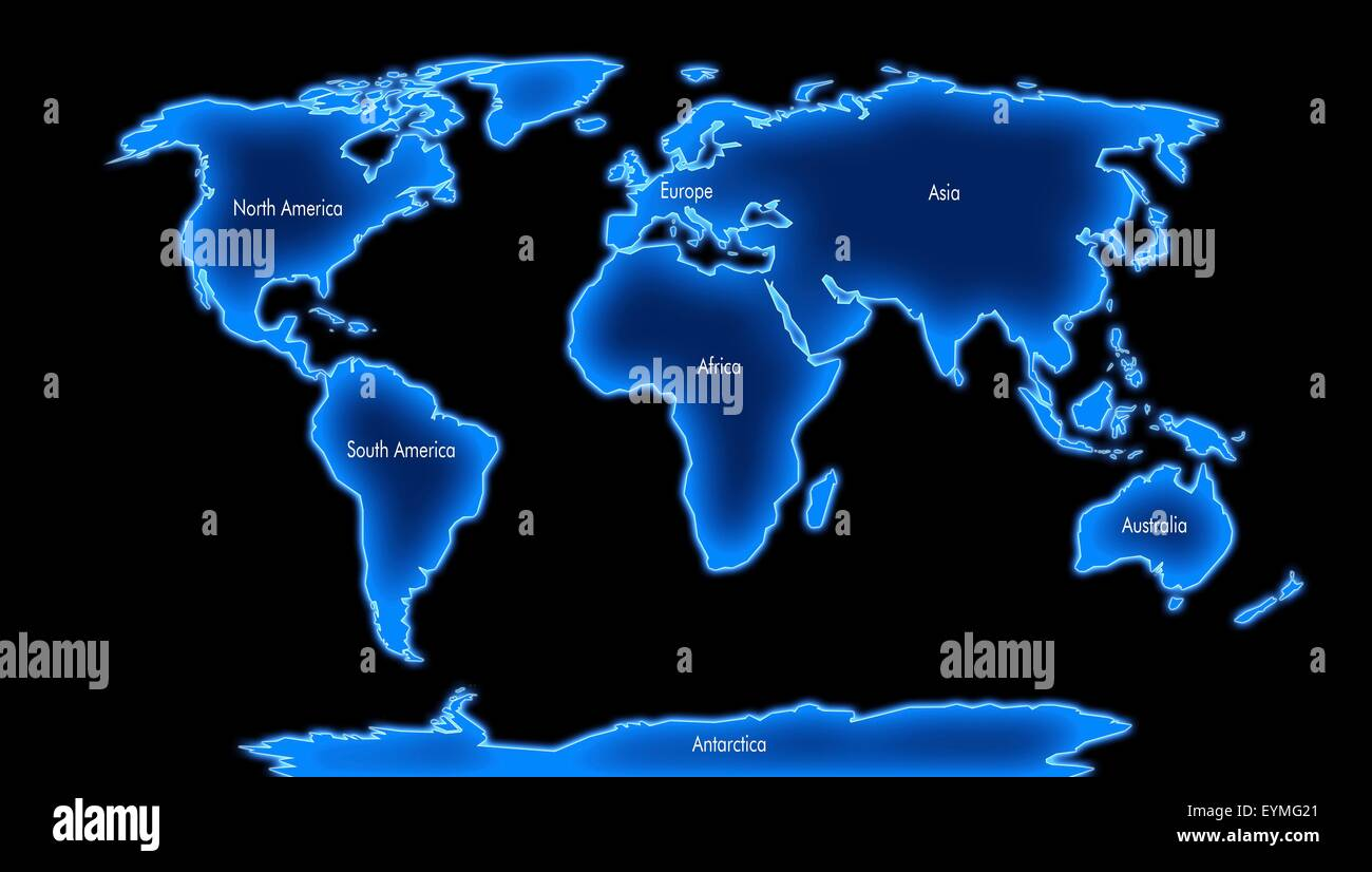 Computer artwork of a world map illustrating the 7 continents