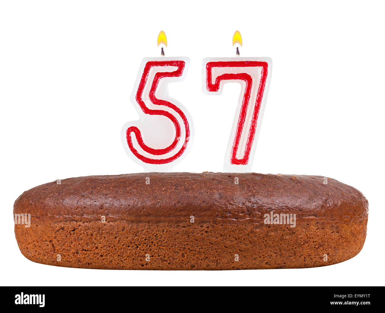 Birthday cake with candles number 57 isolated on white background birthday cake with candles number 57 isolated on white background biocorpaavc