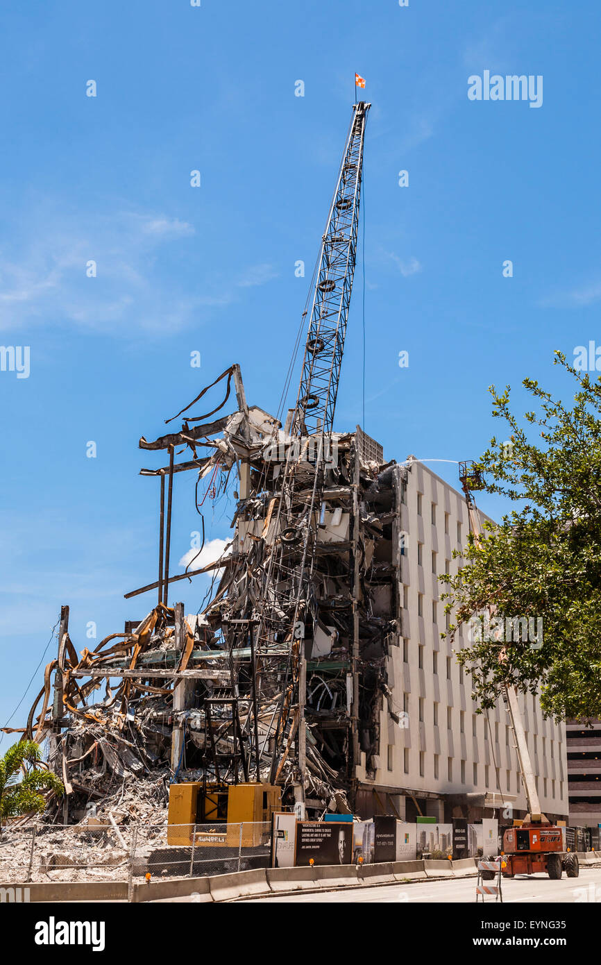building destruction with crane and wrecking ball