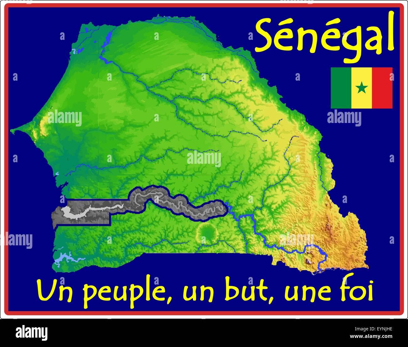 Senegal Map Flag Motto Stock Vector Art Illustration Vector - Senegal map