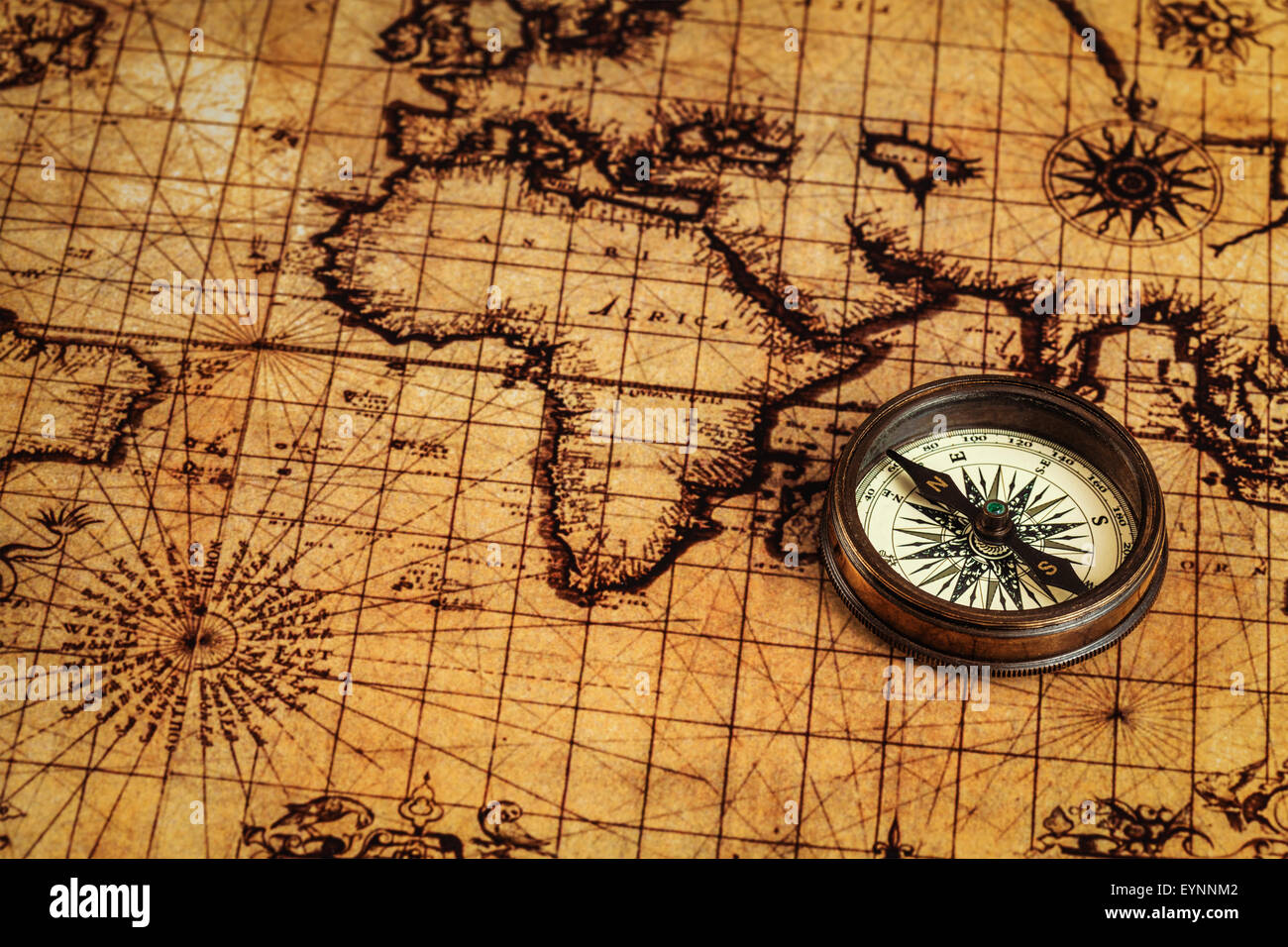 Compass Old Map Processing Antique Stock Photos Compass Old Map - Antiques us maps with compass