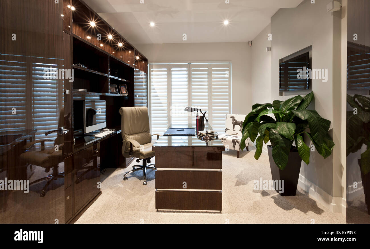 luxurious work office in a house, designed with beige and brown