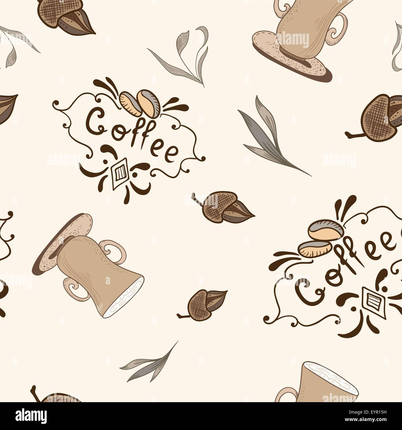beige and brown soft texture with coffee lettering, beans and cups