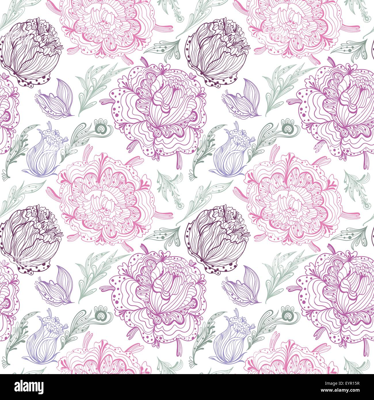 Pink floral seamless vector background floral hrysanthemum seamless - Seamless Floral Illustration With Tender Chrysanthemum Flowers And Leaves On White Background