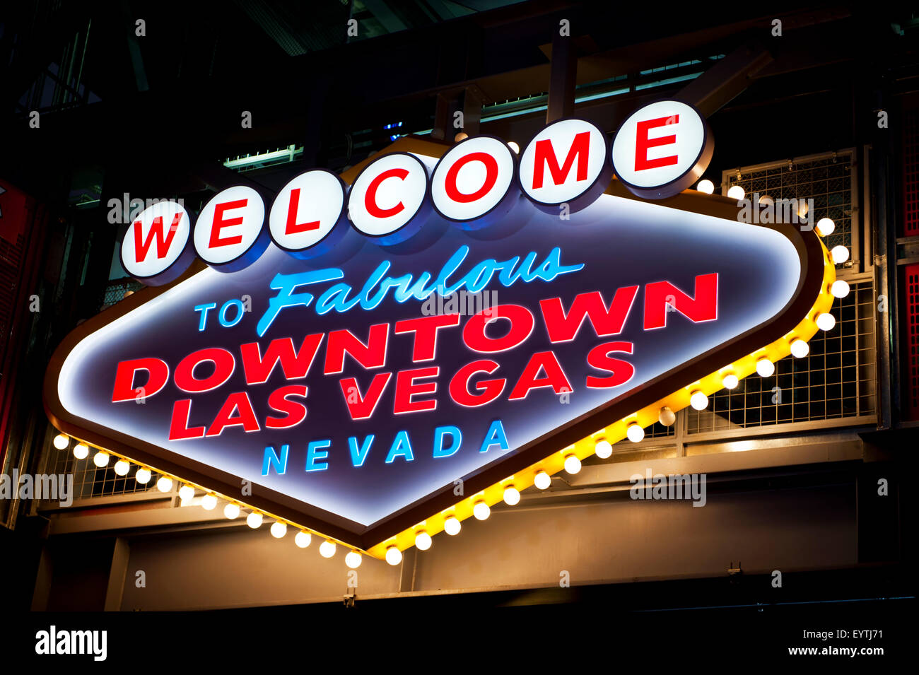 Stock footage welcome to fabulous las vegas sign with flashing lights - Welcome To Fabulous Downtown Las Vegas Sign Fremont Street Las Vegas Nevada