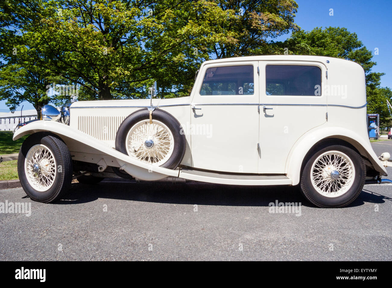 White Invicta Classic Car Side View Of Parked Car Stock Photo