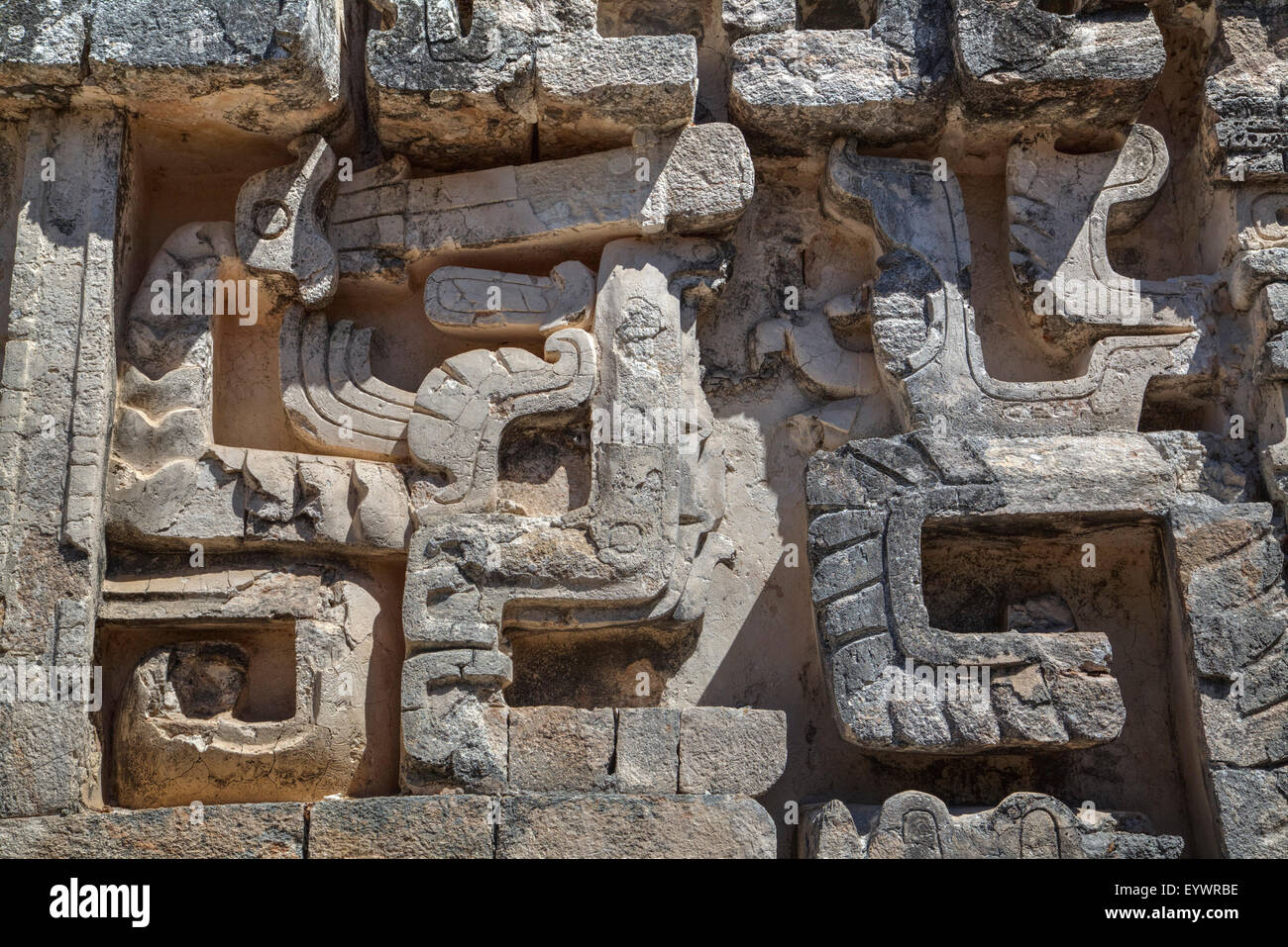 Stone carvings structure ii hochob mayan archaeological
