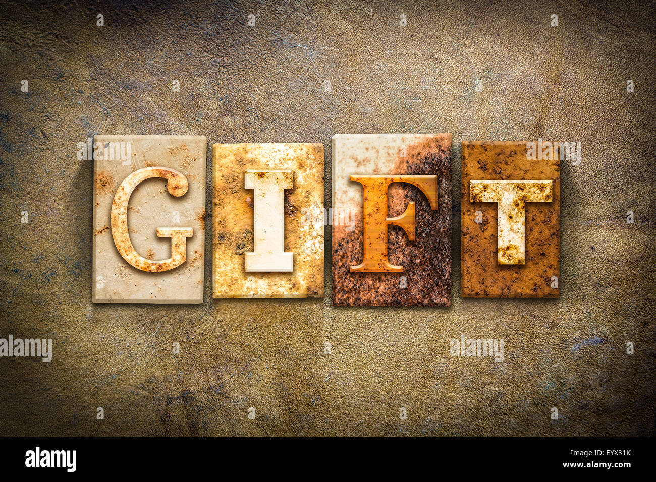 The word gift written in rusty metal letterpress type on an old the word gift written in rusty metal letterpress type on an old aged leather background negle Gallery