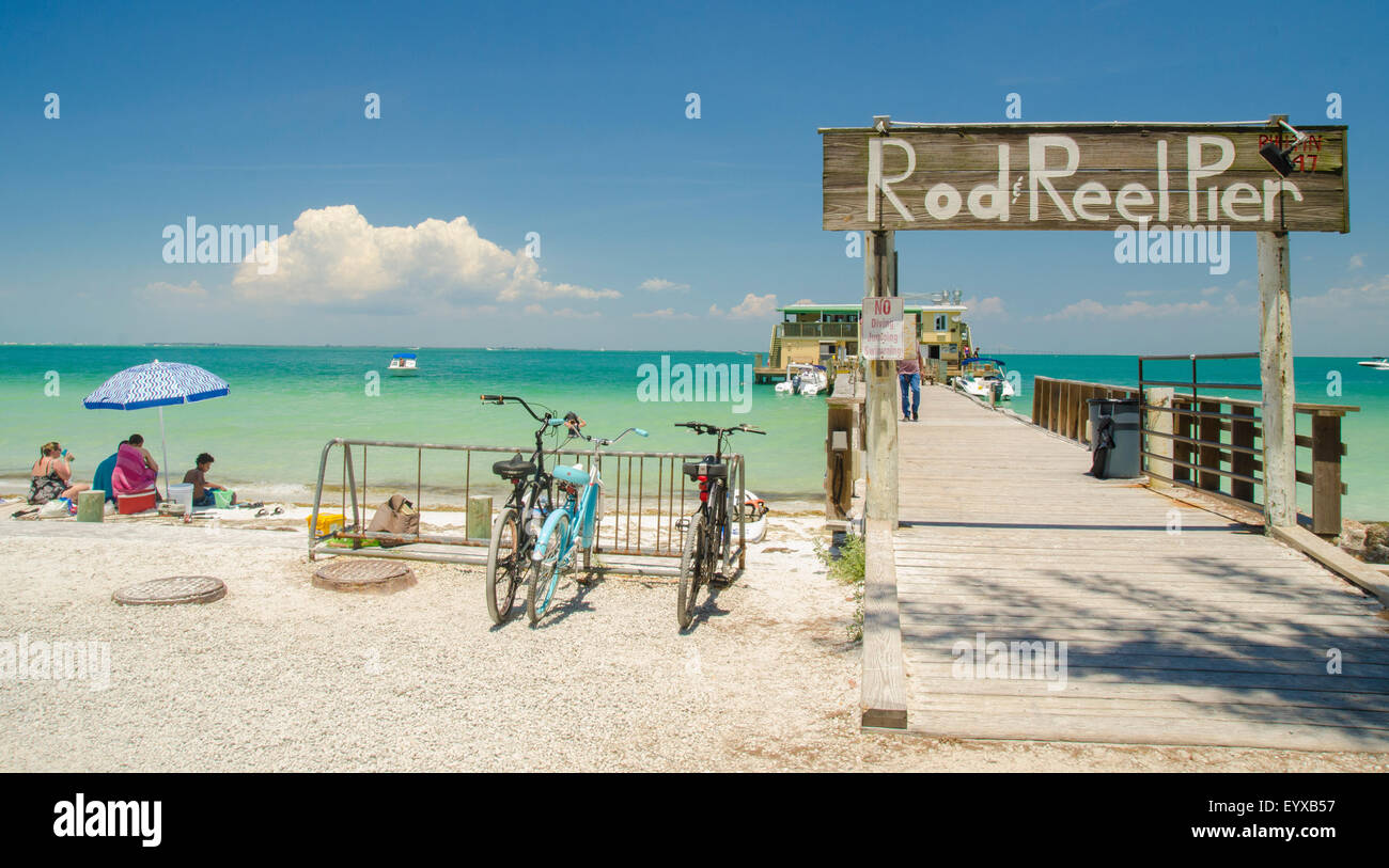 Rod and reel pier anna maria island florida stock photo for Anna maria island fishing pier
