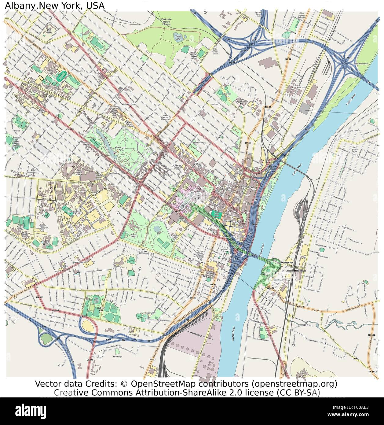 Albany New York USA Country City Island State Location Map