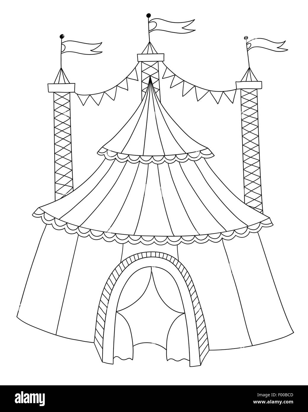 black and white line art illustration of circus tent  sc 1 st  Alamy : circus tent drawing - memphite.com