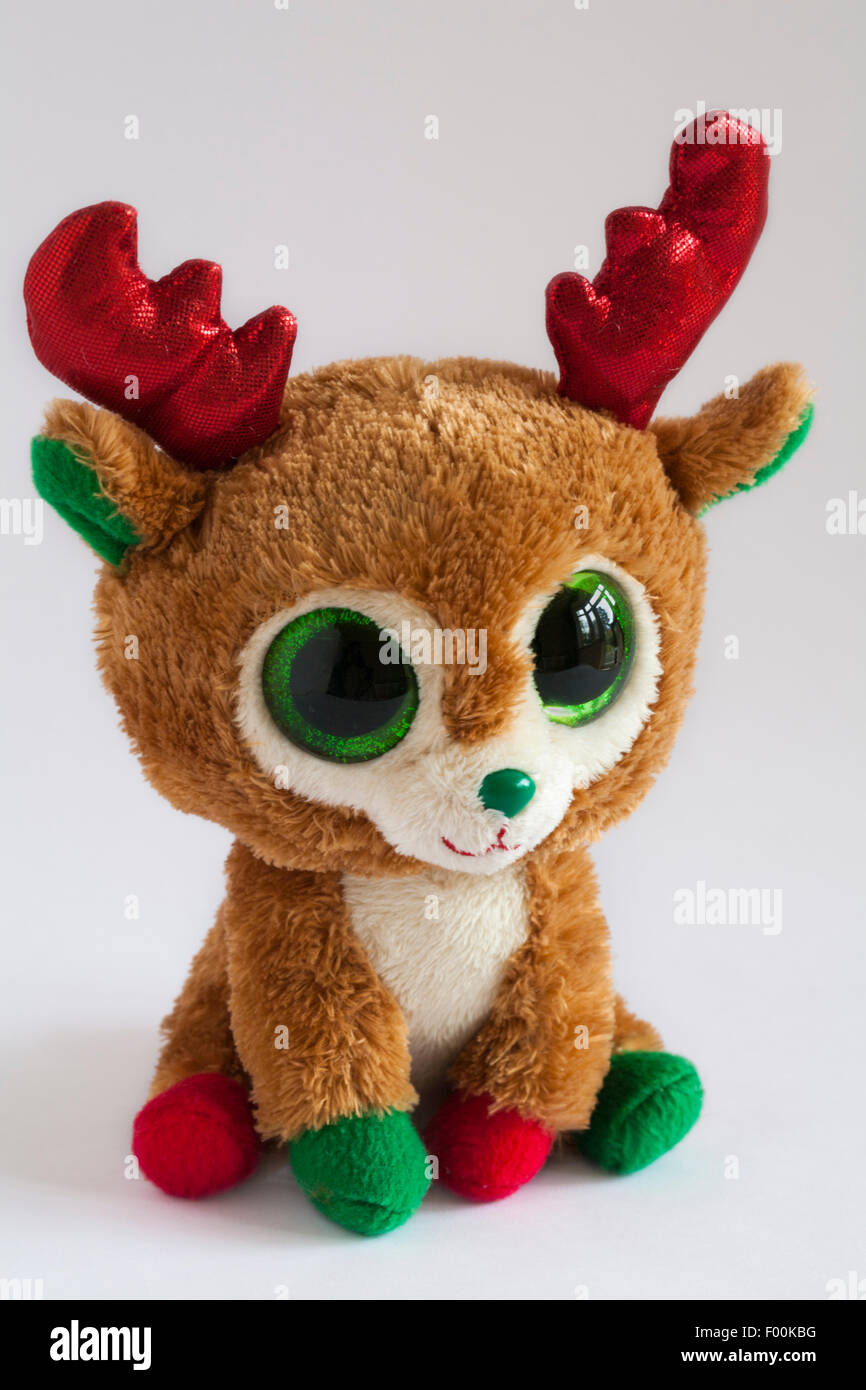 Ty Alpine the Christmas Reindeer beanie boos isolated on white ...