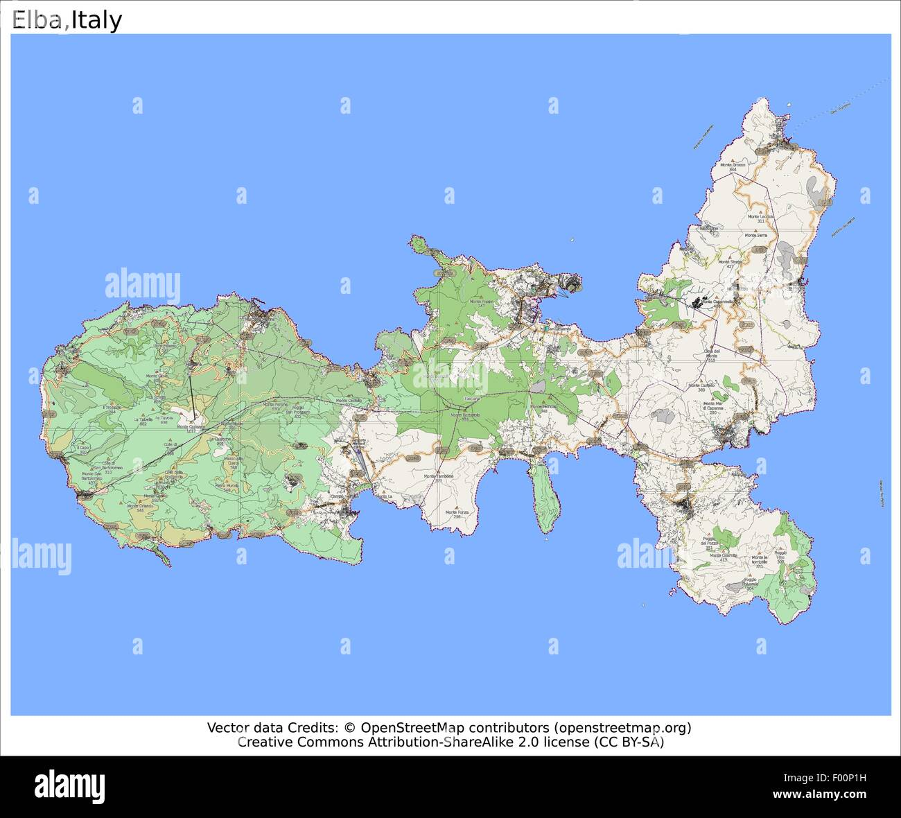 Elba island Italy Country city island state location map Stock