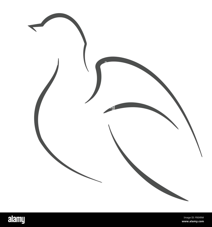 Dove bird outline Vector symbol illustration Stock Vector Art