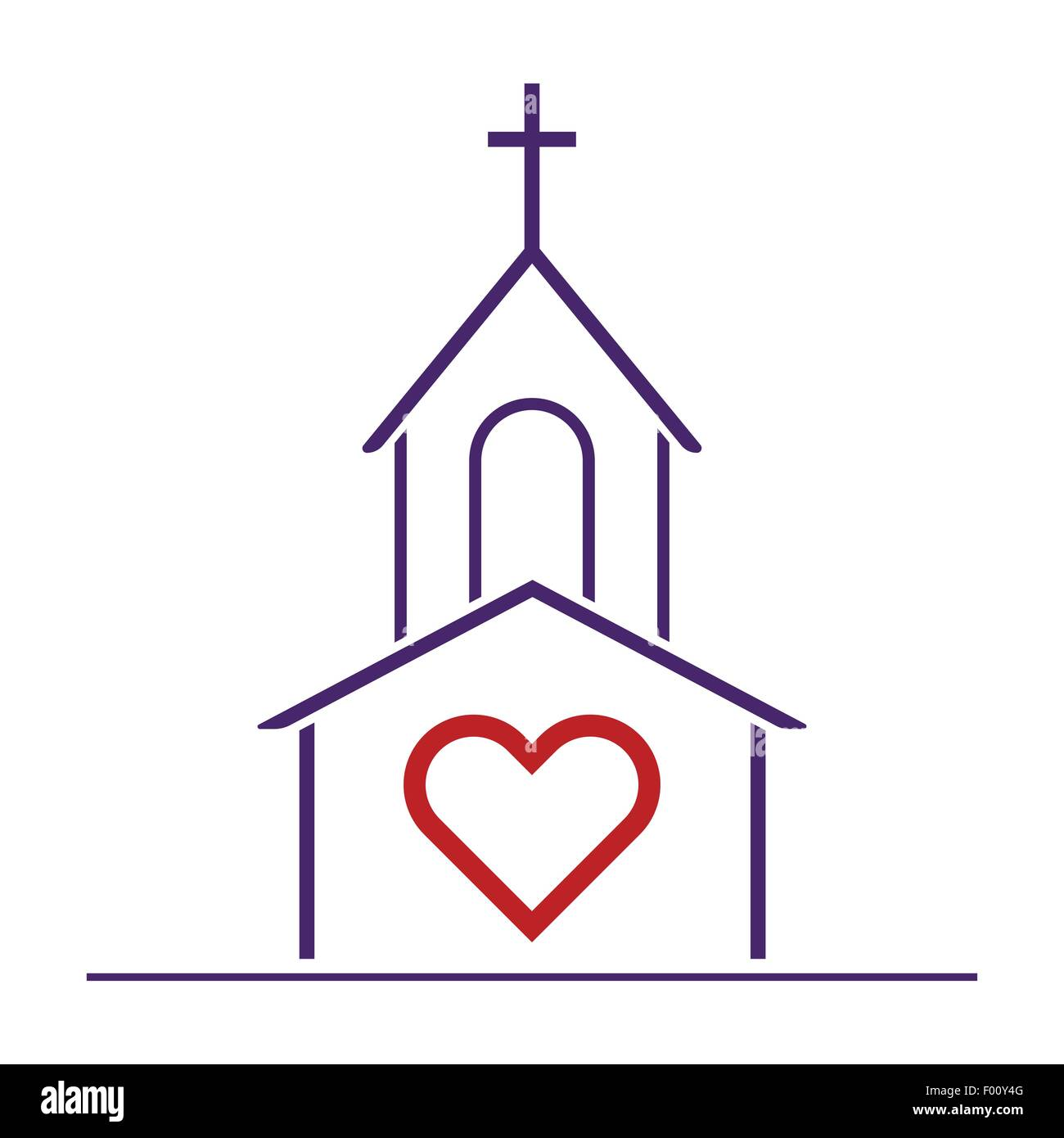 Christian church and heart as love symbol religious love concept christian church and heart as love symbol religious love concept vector illustration biocorpaavc Image collections