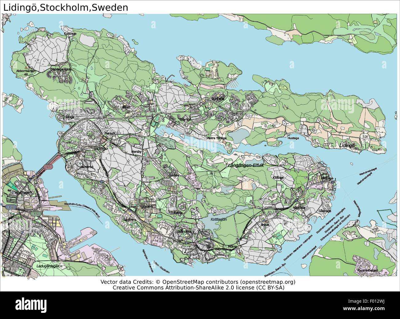 Lidingo Stockholm Sweden Area City Map Aerial View Stock Vector - Sweden map search