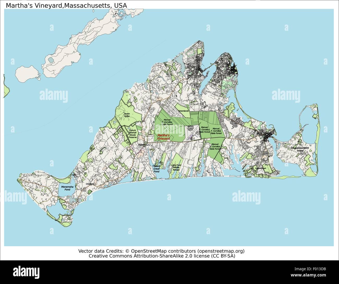 Marthas Vineyard Massachusetts USA Area City Map Aerial View - Massachusetts map usa