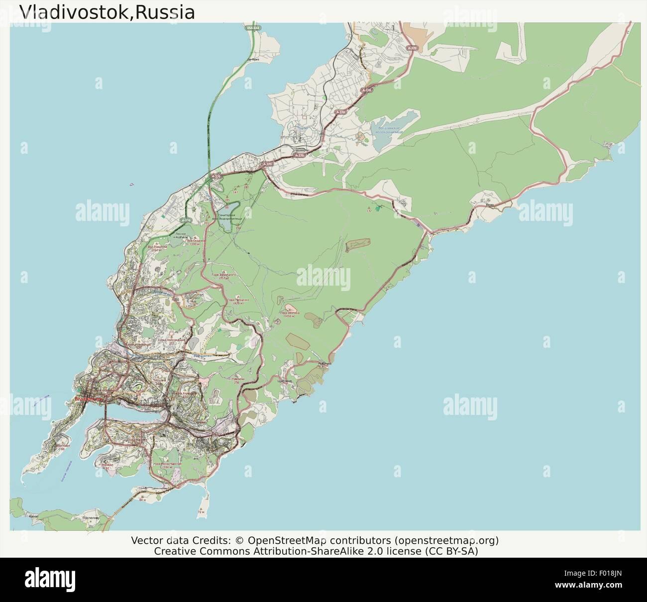 Vladivostok Russia city map aerial view Stock Vector Art