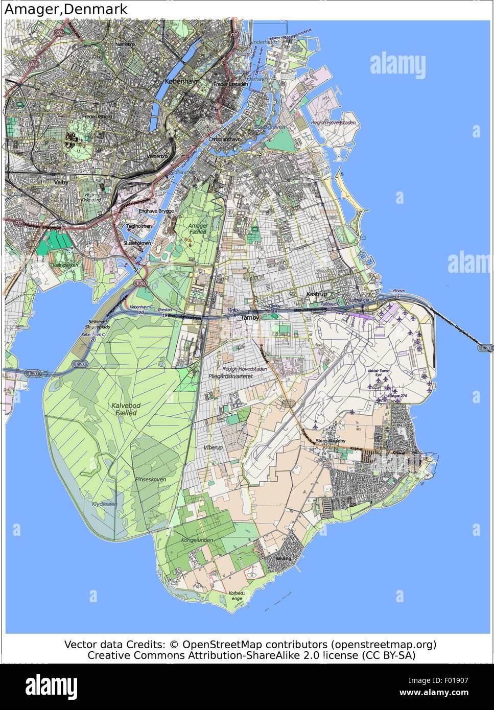 amager copenhagen denmark island city map aerial view stock vector