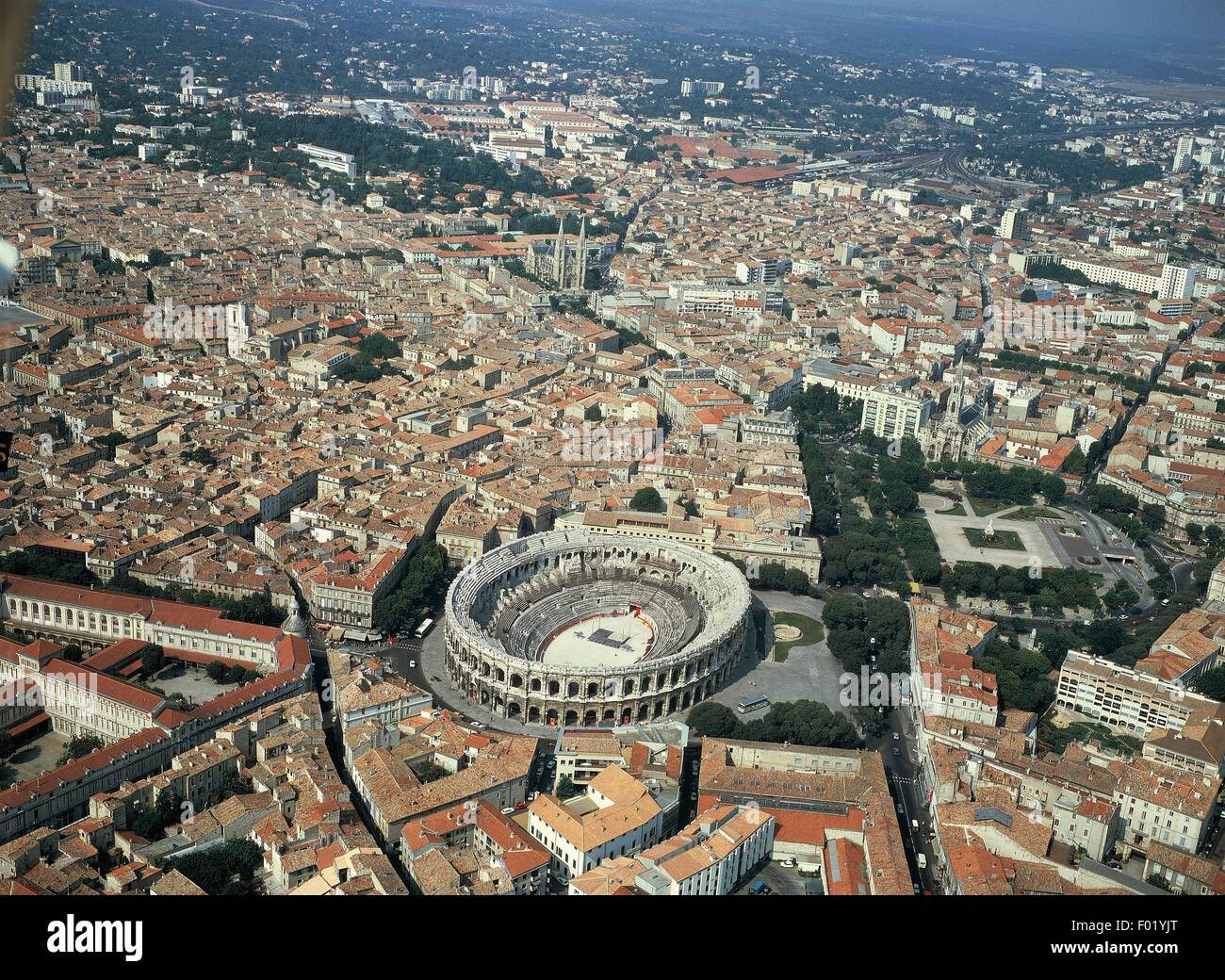 aerial view of nimes the city with the arena languedoc. Black Bedroom Furniture Sets. Home Design Ideas