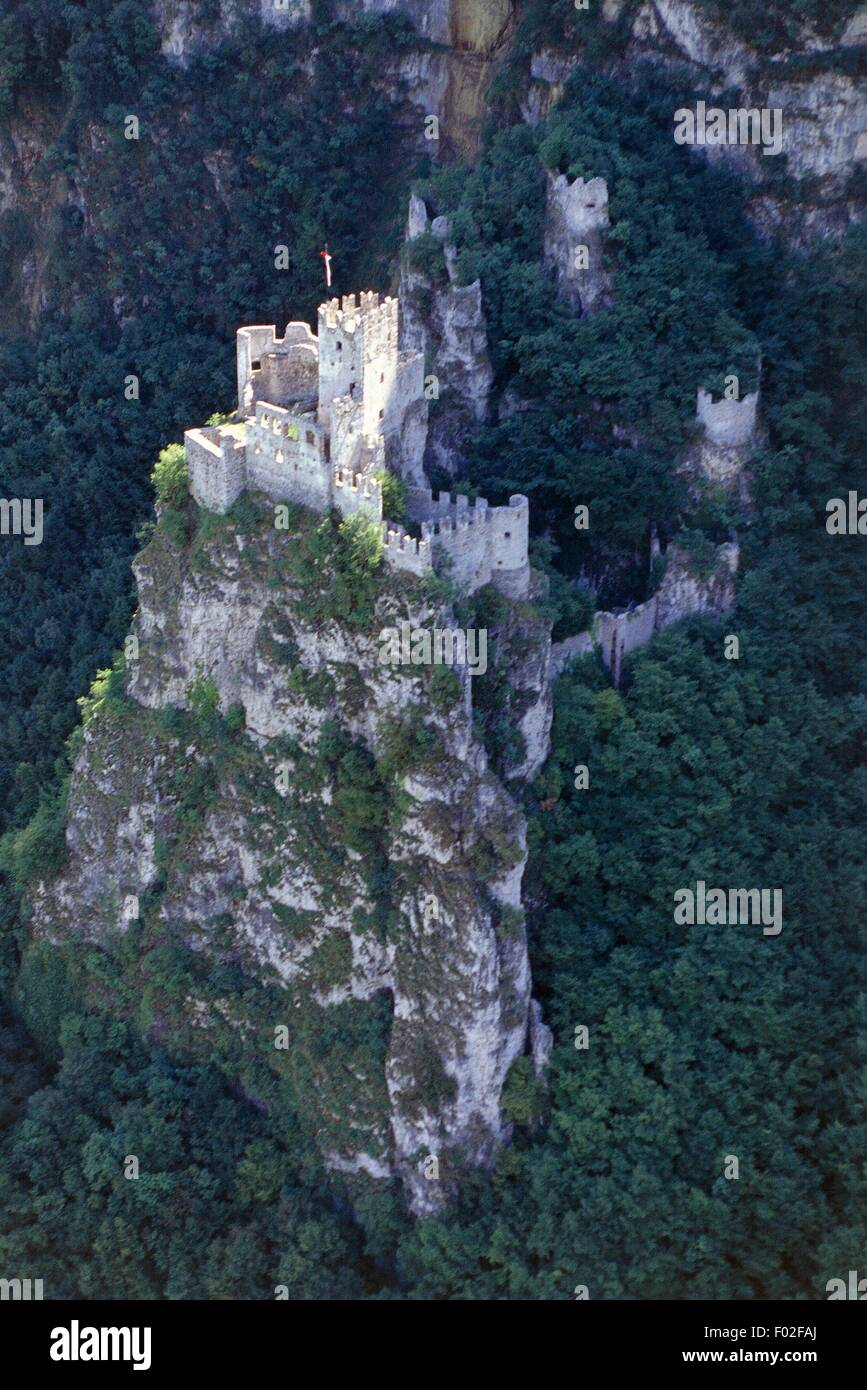Aerial view of the Castle of Salorno Province of Bolzano Stock