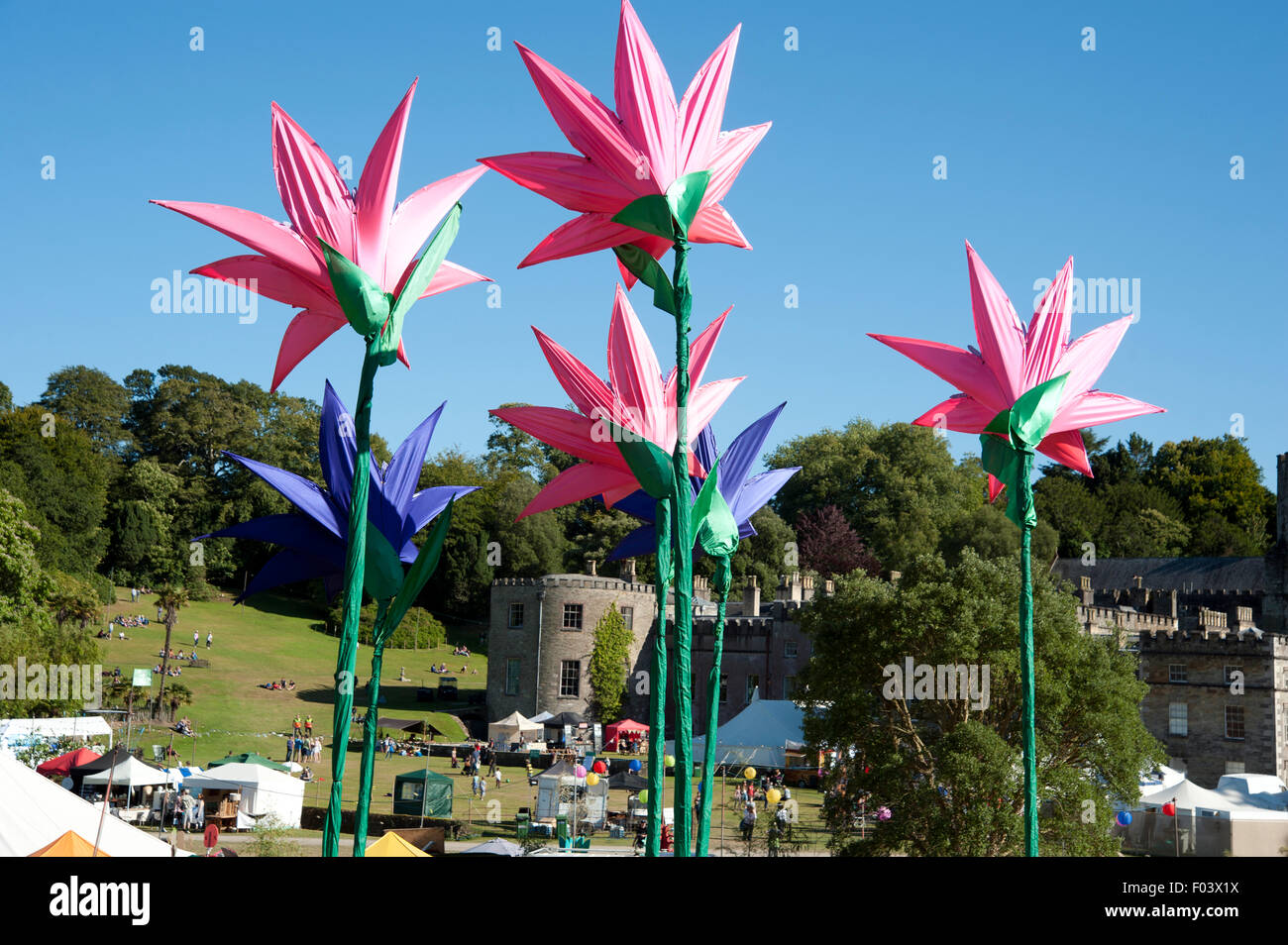 Port Eliot festival tents big top and festival flowers in front of Port Eliot house at the Port Eliot festival Cornwall & Port Eliot festival tents big top and festival flowers in front of ...