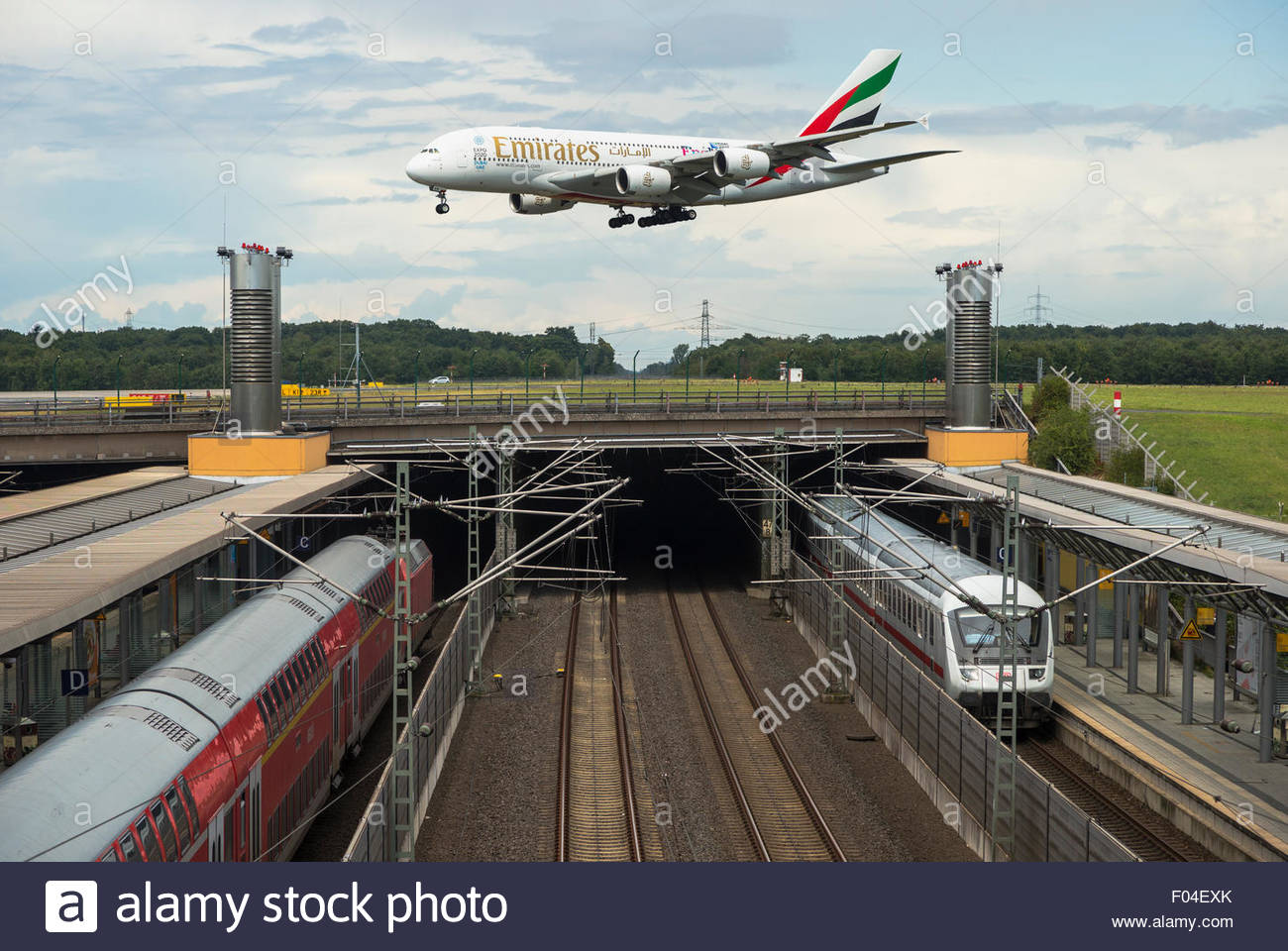 airbus a380 approaching runway duesseldorf airport train station rail stock photo royalty free. Black Bedroom Furniture Sets. Home Design Ideas