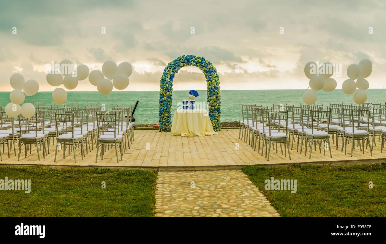 Beach Wedding Set Up Outdoor Reception Arch