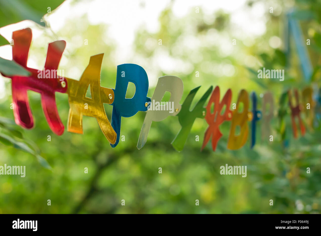 happy birthday greeting colorful banner detail from backyard