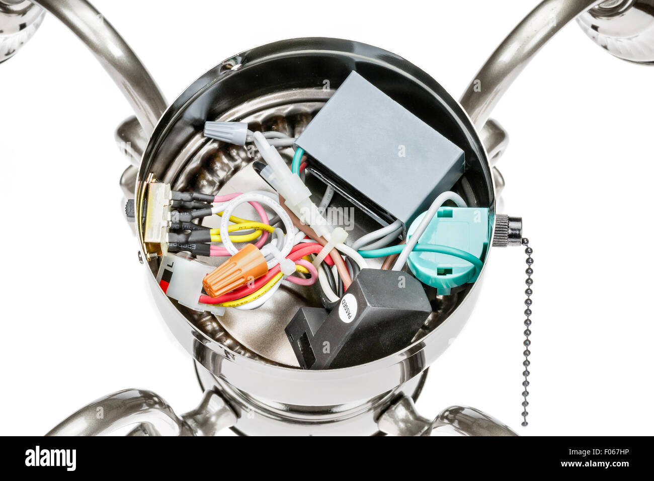 Internal Wiring Of A Ceiling Fan Light Fixture Stock Photo