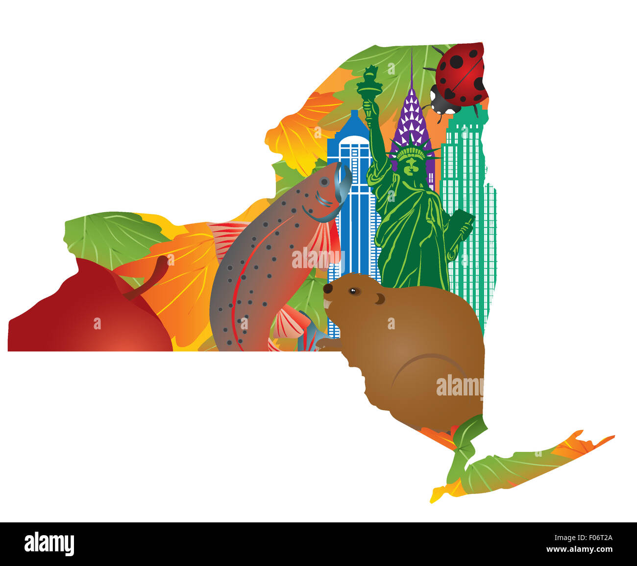 State of new york official symbols with statue of liberty beaver state of new york official symbols with statue of liberty beaver brook trout ladybug big apple sugar maple leaves in map outline buycottarizona Image collections