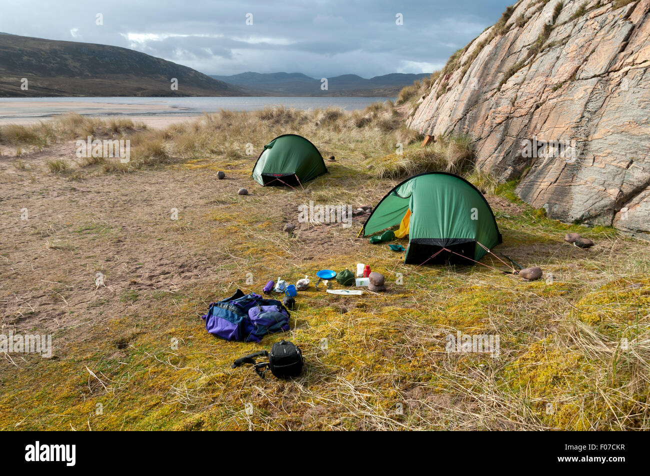 Wild c&ing by Sandwood Loch at Sandwood Bay Sutherland Scotland UK. & Camp Scottish Loch Stock Photos u0026 Camp Scottish Loch Stock Images ...