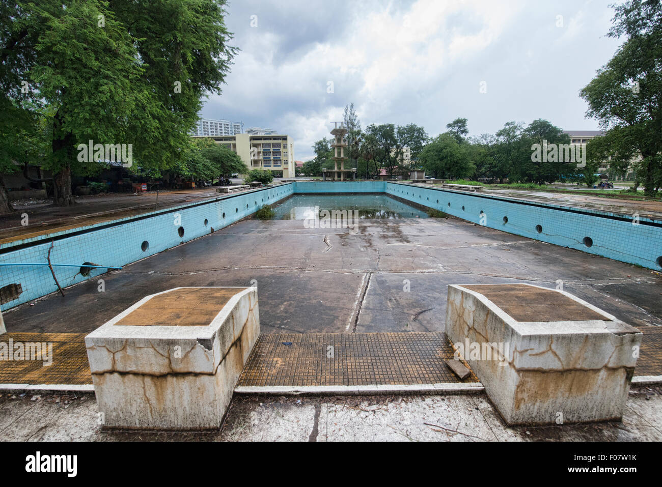 empty old swimming pool at the royal university of phnom