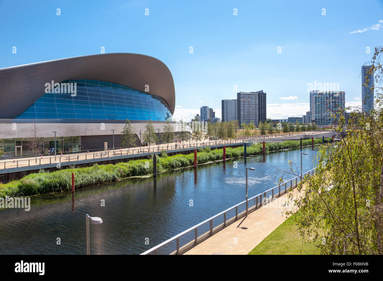 stratford olympic park swimming pool aquatics centre and the waterworks river at the olympic